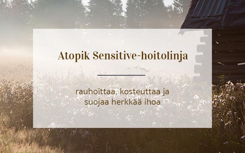 Atopik Sensitive -hoitolinja rauhoittaa, kosteuttaa ja suojaa herkkää ihoa.